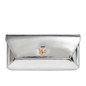 NWT~TORY BURCH~Fleming Silver Metallic Flat Clutch